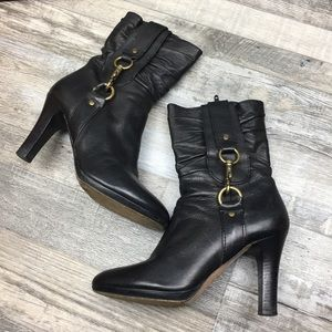 Coach Black Leather Boots Women Size 7.5